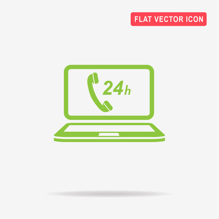 24h: 24h support computer icon. Vector concept illustration for design.