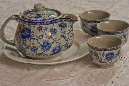 Chinese tea set with cups photo