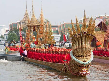 BANGKOK, THAILAND  NOVEMBER 6: Final grand rehearsal for Thai Royal Barge Procession cruises down the Chao Phraya river for the Royal Kathin Ceremony kicked off here Friday , on November 9.in Bangkok, Thailand on November 6, 2012