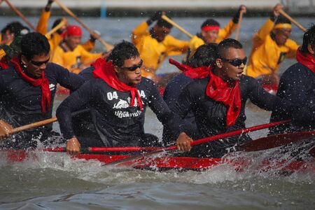 BANGKOK, THAILAND - DECEMBER 11: The annual longboat races were arranged on 12 December 2010 at the Chao Praya river in Bangkok,Thailand.