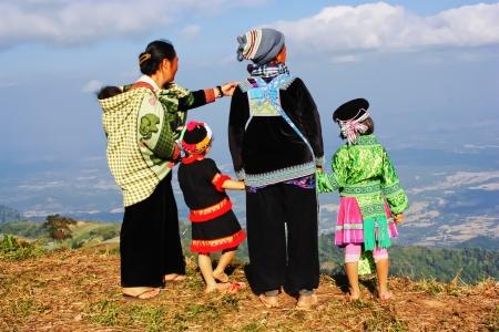 PHETCHABUN, THAILAND – NOV. 27 : Hmong family see views  on Phu Tub Berk on November 27, 2010 in Phetchabun, Thailand.