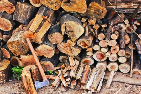 Ax and firewood  photo