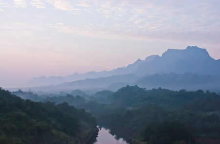Mountain scenery with sunrise color,Thailand photo