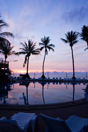 Sunrise  with silhouette palm trees  photo