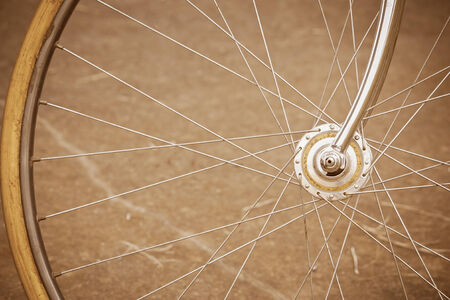 Details of bicycle wheel with old style photo