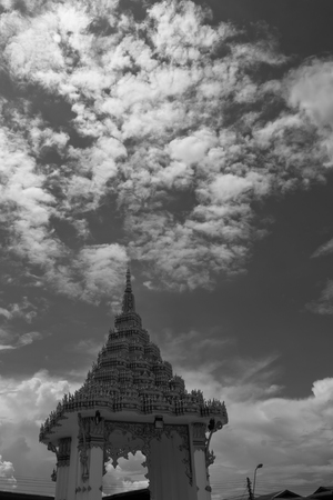 silently: Black and white of thai pagoda and dramatic sky