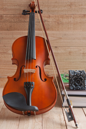 fiddles: Violin and fiddle on wood background