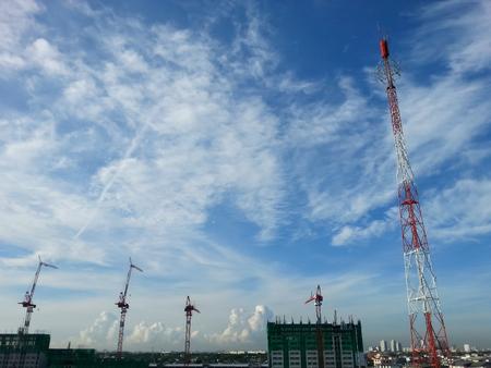 concrete commercial block: Construction work site on blue sky Stock Photo