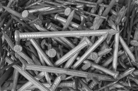 monotone: Steel nails  with monotone image Stock Photo