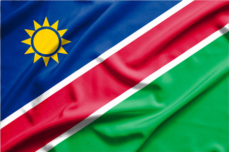 namibia: Namibia flag on soft and smooth silk texture