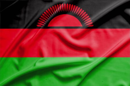 malawi flag: Malawi flag on soft and smooth silk texture