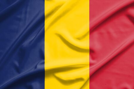 chad flag: Chad flag on soft and smooth silk texture
