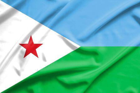 djibouti: Djibouti flag on soft and smooth silk texture Stock Photo