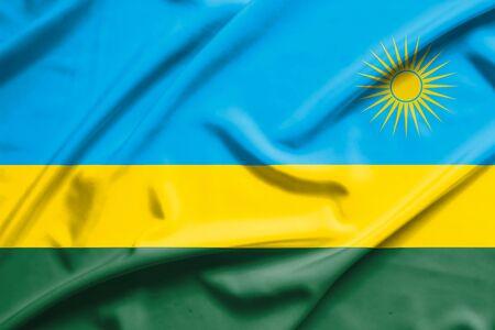rwanda: Rwanda flag on soft and smooth silk texture