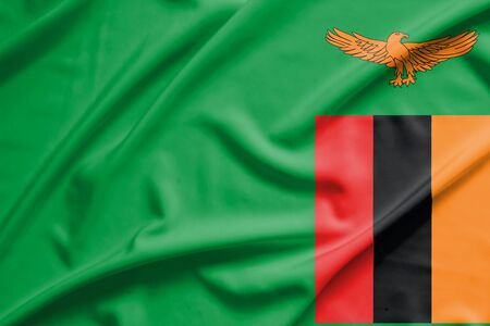 zambian: zambia flag on soft and smooth silk texture Stock Photo