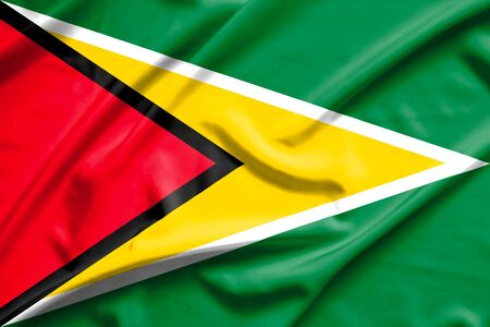 guyanese: Guyana flag on soft and smooth silk texture