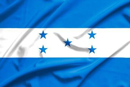bandera honduras: Bandera de Honduras en la textura de la seda suave y lisa Foto de archivo