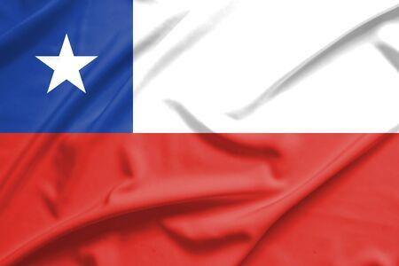 flag of chile: Bandera de Chile en la textura de la seda suave y lisa Foto de archivo