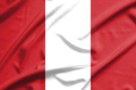 bandera de peru: bandera de Perú en la textura de la seda suave y tersa