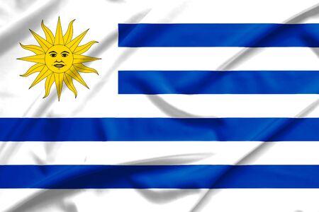 bandera uruguay: Bandera de Uruguay en la textura de la seda suave y lisa Foto de archivo