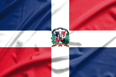dominican: Dominican Republic flag on soft and smooth silk texture