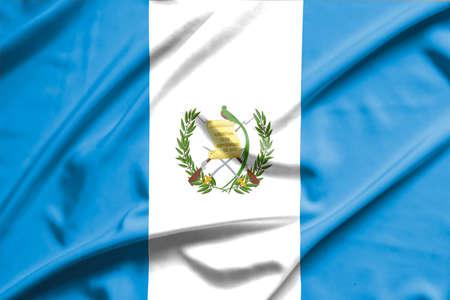 bandera de guatemala: bandera de Guatemala en la textura de la seda suave y lisa