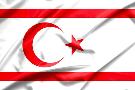crease: Northern Cyprus flag on soft and smooth silk texture