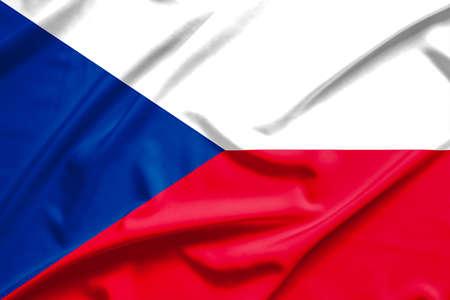 czech republic flag: czech republic  flag on soft and smooth silk texture