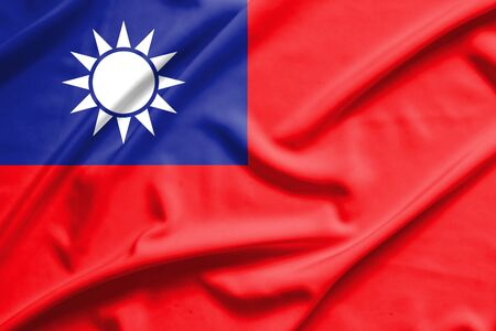 taiwanese: Taiwan flag on soft and smooth silk texture
