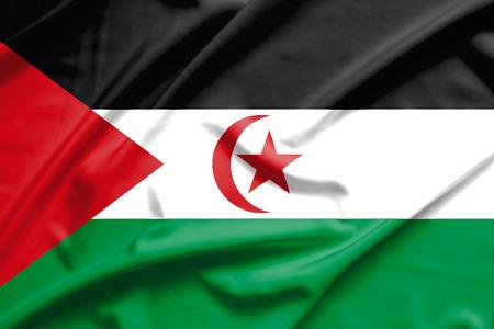 sahrawi arab democratic republic: Sahrawi Arab Democratic Republic flag on soft and smooth silk texture Stock Photo