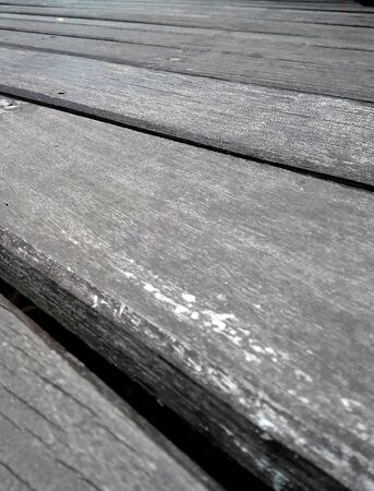 Close up perspective view of weathered wood planks.