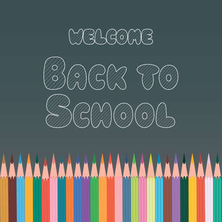 Poster, banner, postcard with chalk inscription Welcome Back to School, made on the background of the school board with colored pencils. School vector illustration.
