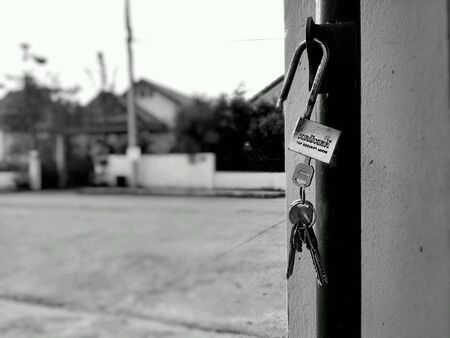 unlocked: Unlocked key in black and white Stock Photo