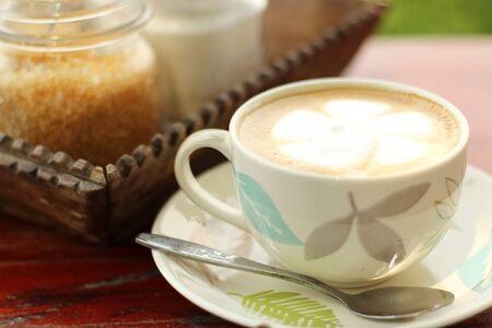 wood table: Hot coffee on wood table
