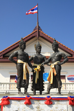 Three Kings Monument in the center of Chiang Mai, Thailand. The sculpture of the three kings is a symbol of Chiang Mai