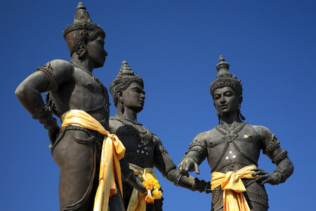 king of thailand: Close up of Three Kings Monument in the center of Chiang Mai, Thailand. The sculpture of the three kings is a symbol of Chiang Mai Stock Photo