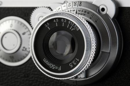 50mm: Camera Lens of old film camera model. Stock Photo