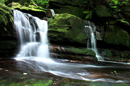 soi: Beautiful stream at Moss waterfall, Phu Soi Dao National Park, Uttaradit, Thailand.