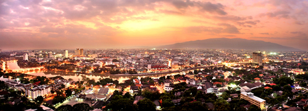 chiang mai: Aerial view of Ping River across Chiang Mai city with beautiful twilight, Thailand. Stock Photo
