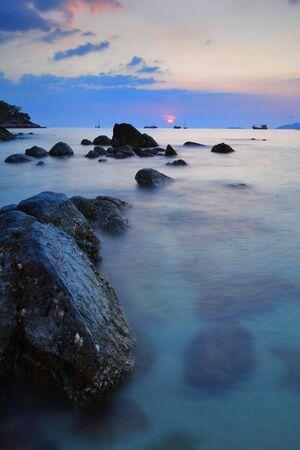 andaman sea: Reef and seacoast at at Lipe island beach of the Andaman sea, in Satun Province of Thailand. Stock Photo