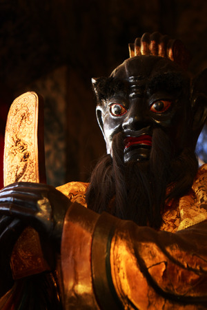 categorical: Sculpture of Bao Zheng at Chinese Temple, He is god of justice in China.