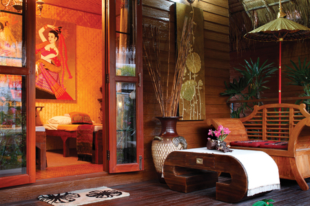 contemporary living room: Beatiful wooden livingroom on terrace in lanna style, Northern Thailand.