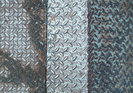 welds: different steel texture plate floor welds together Stock Photo
