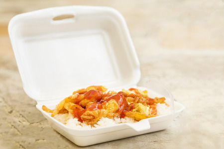 Boxes - foam food container with copy space Stock Photo