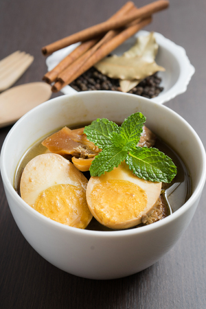 ingredient: Stewed eggs with ingredient Stock Photo