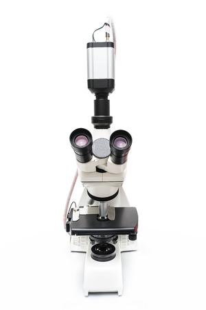 microscope isolated: microscope isolated on white background Stock Photo