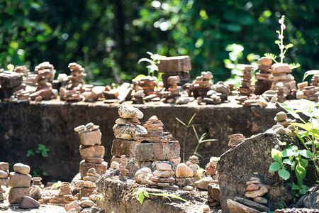 stones piles in balance at outdoor Stock Photo