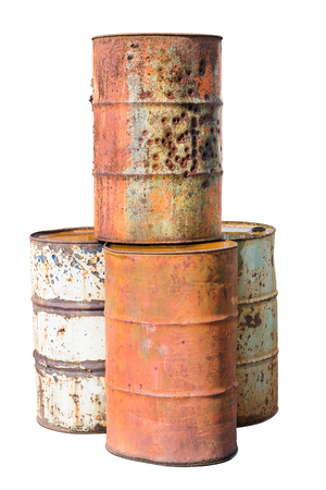 destroyed rust old metal oil barrel isolated on white background with clipping path