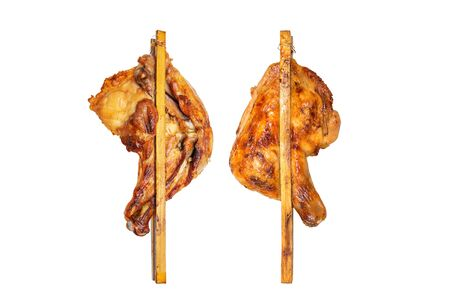 two side of roasted grilled chicken or crilled chicken isolated on white