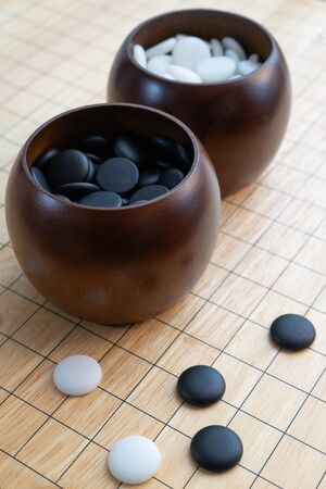igo chinese board game with black and white stone, Japan Go -  Go game, Weiqi, Baduk